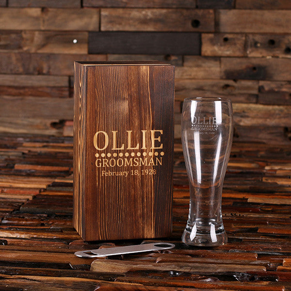 Personalized Bottle Opener and Pilsner, Pint Beer Glass with Engraved Wood Box - Rion Douglas Gifts - 1