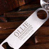Personalized Bottle Opener and Pilsner, Pint Beer Glass with Engraved Wood Box - Rion Douglas Gifts - 4