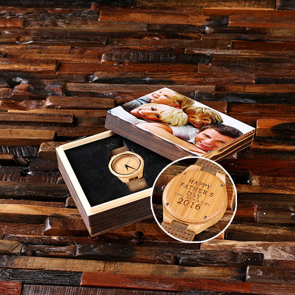 Personalized Tan Wood Watch with or without Engraved or Printed Wood Box - Rion Douglas Gifts - 1