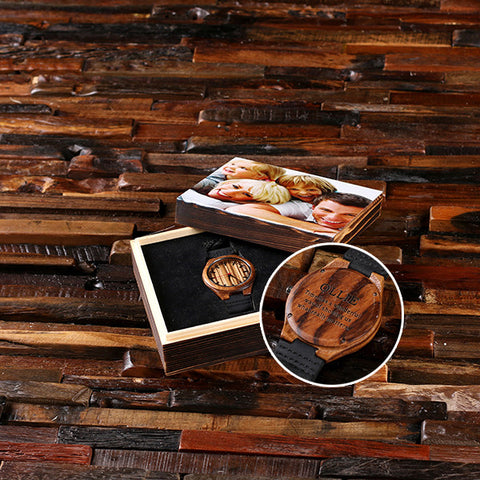 Personalized Wood Watch with or without Engraved or Printed Wood Box - Rion Douglas Gifts - 1