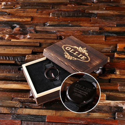 Personalized Black Wood Watch with or without Engraved or Printed Wood Box - Rion Douglas Gifts - 1