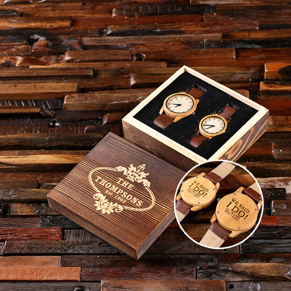 Personalized His & Hers Engraved Wood Watch Bamboo Leather Straps with Engraved or Printed Box - Rion Douglas Gifts - 2