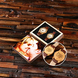 Personalized His & Hers Engraved Wood Watch Bamboo Leather Straps with Engraved or Printed Box - Rion Douglas Gifts - 3