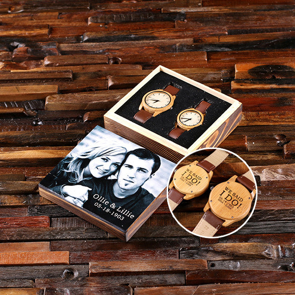 Personalized His & Hers Engraved Wood Watch Bamboo Leather Straps with Engraved or Printed Box - Rion Douglas Gifts - 1