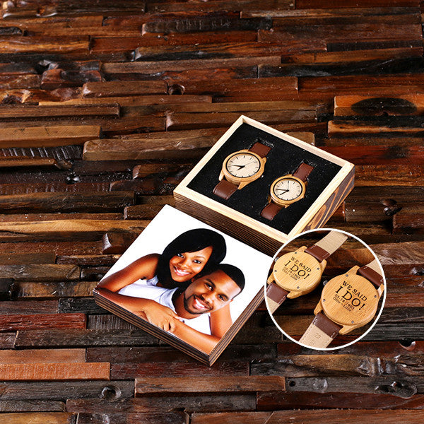 Personalized Personalized His & Hers Engraved Wood Watch Bamboo Leather Straps with or without Engraved or Printed Wood Box - Rion Douglas Gifts - 1