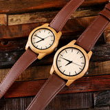 Personalized His & Hers Engraved Wood Watch Bamboo Leather Straps with Engraved or Printed Box - Rion Douglas Gifts - 10