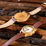 Personalized His & Hers Engraved Wood Watch Bamboo Leather Straps with Engraved or Printed Box - Rion Douglas Gifts - 12