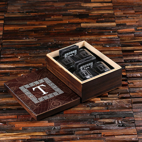 4 Whiskey Glasses and 4 Slate Coasters with Engraved or Printed World Wood Box - Rion Douglas Gifts - 1