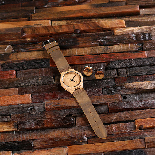 Personalized Tan Wood Watch and Cufflinks with Engraved Wood Box - Rion Douglas Gifts - 9