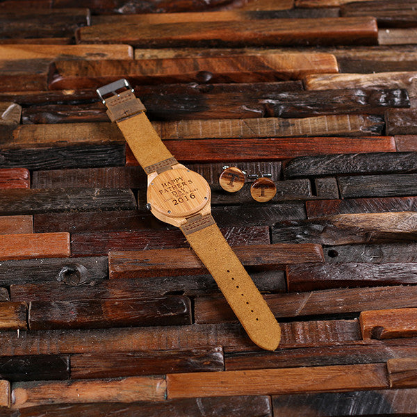 Personalized Tan Wood Watch and Cufflinks with Engraved Wood Box - Rion Douglas Gifts - 10