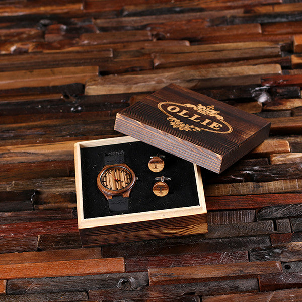 Personalized Wood Watch and Cufflinks with Engraved Wood Box - Rion Douglas Gifts - 1