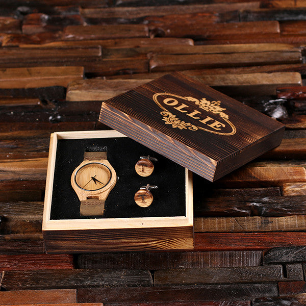 Personalized Tan Wood Watch and Cufflinks with Engraved Wood Box - Rion Douglas Gifts - 1
