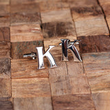 "Initials ""A-Z"" Personalized Polished Stainless Steel Men's Classic Cuff Link Cufflink with Wood Box - Rion Douglas Gifts - 13"