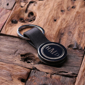 Leather Engraved Monogrammed Key Chain – Black or Brown with Wood Box - Rion Douglas Gifts - 2