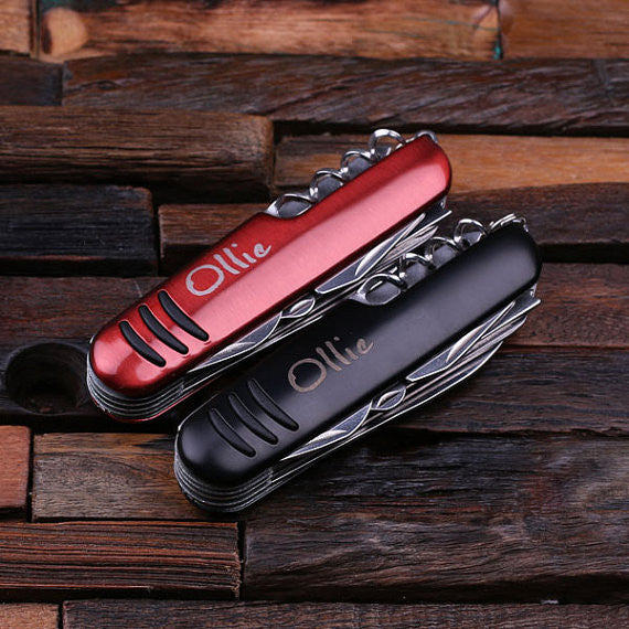 Set of 5 Personalized Utility Pocket Knife – 11 Tools in Red or Black - Rion Douglas Gifts - 1