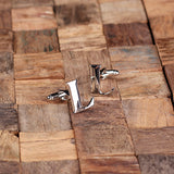 "Initials ""A-Z"" Personalized Polished Stainless Steel Men's Classic Cuff Link Cufflink with Wood Box - Rion Douglas Gifts - 14"