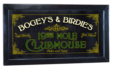 19th Hole Personalized Bar Occupational Business Mirror Sign