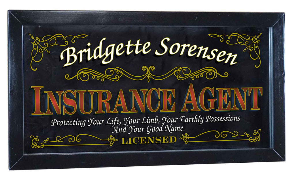 Insurance Agent Personalized Bar Occupational Business Mirror Sign