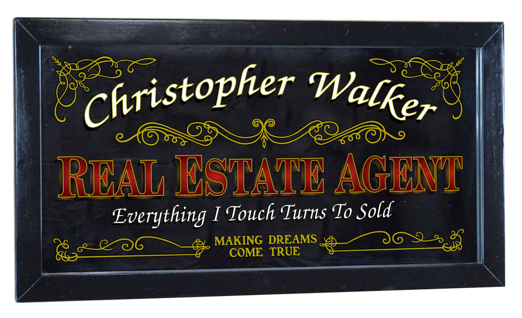 Real Estate Agent Personalized Bar Occupational Business Mirror Sign