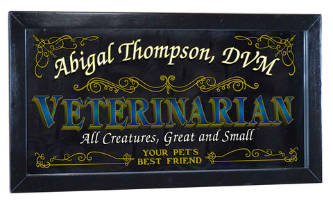 Veterinarian Personalized Bar Occupational Business Mirror Sign