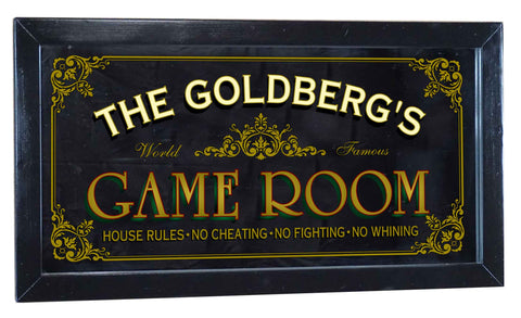 Game Room Personalized Bar Occupational Business Mirror Sign
