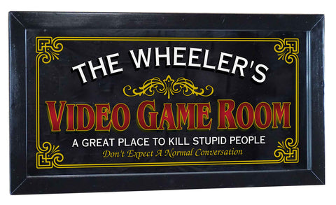 Video Game Room Personalized Bar Occupational Business Mirror Sign