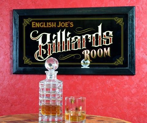 Personalized Bar Mirror Sign 'Billiards'