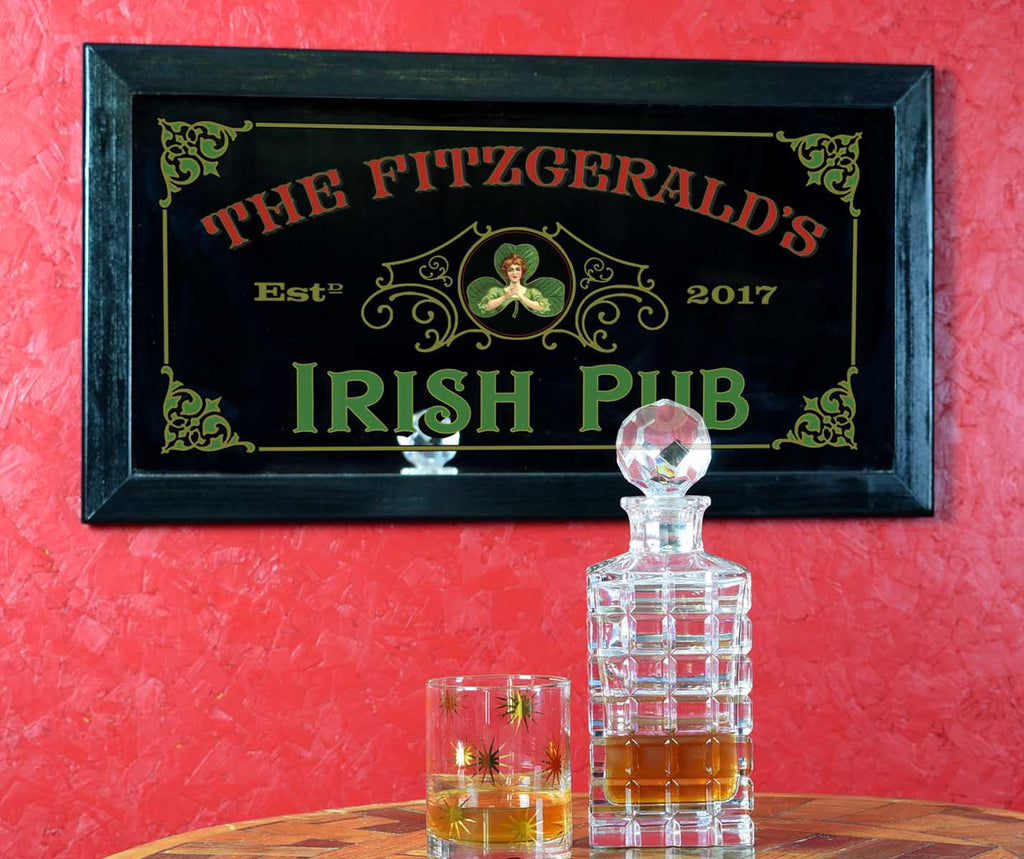 Personalized Bar Mirror Sign 'Irish Pub'
