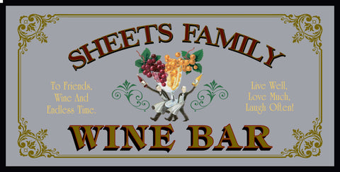 Personalized Mirror Sign Wine Bar