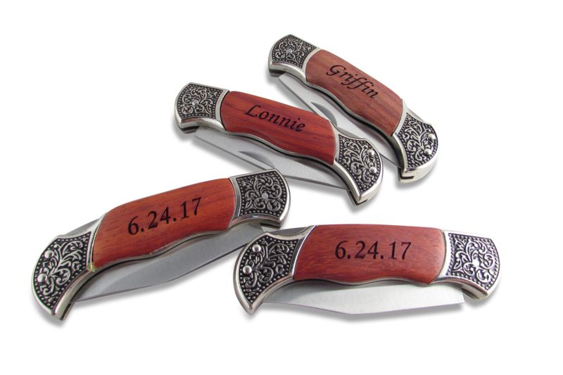 Personalized Rosewood Decorated Grip Hunting Knife