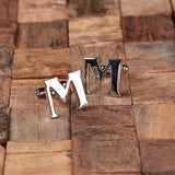 "Initials ""A-Z"" Personalized Polished Stainless Steel Men's Classic Cuff Link Cufflink with Wood Box - Rion Douglas Gifts - 15"