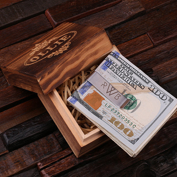Monogrammed Money Clip – Polished Stainless Steel w/Optional Wood Gift Box - Rion Douglas Gifts - 1