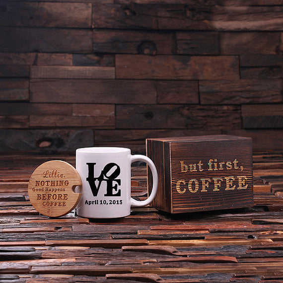 Personalized Coffee Mug with Lid & Tea Box