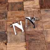 "Initials ""A-Z"" Personalized Polished Stainless Steel Men's Classic Cuff Link Cufflink with Wood Box - Rion Douglas Gifts - 16"