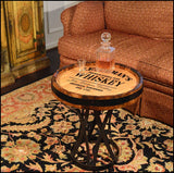 Oak Barrel Coffee End Table - Whiskey