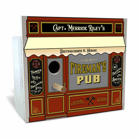 Personalized Birdhouse Bird House - Fireman's Pub