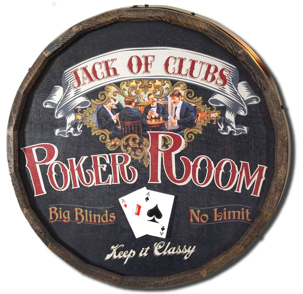 Poker Room - Personalized Wood Quarter Barrel Wood Sign