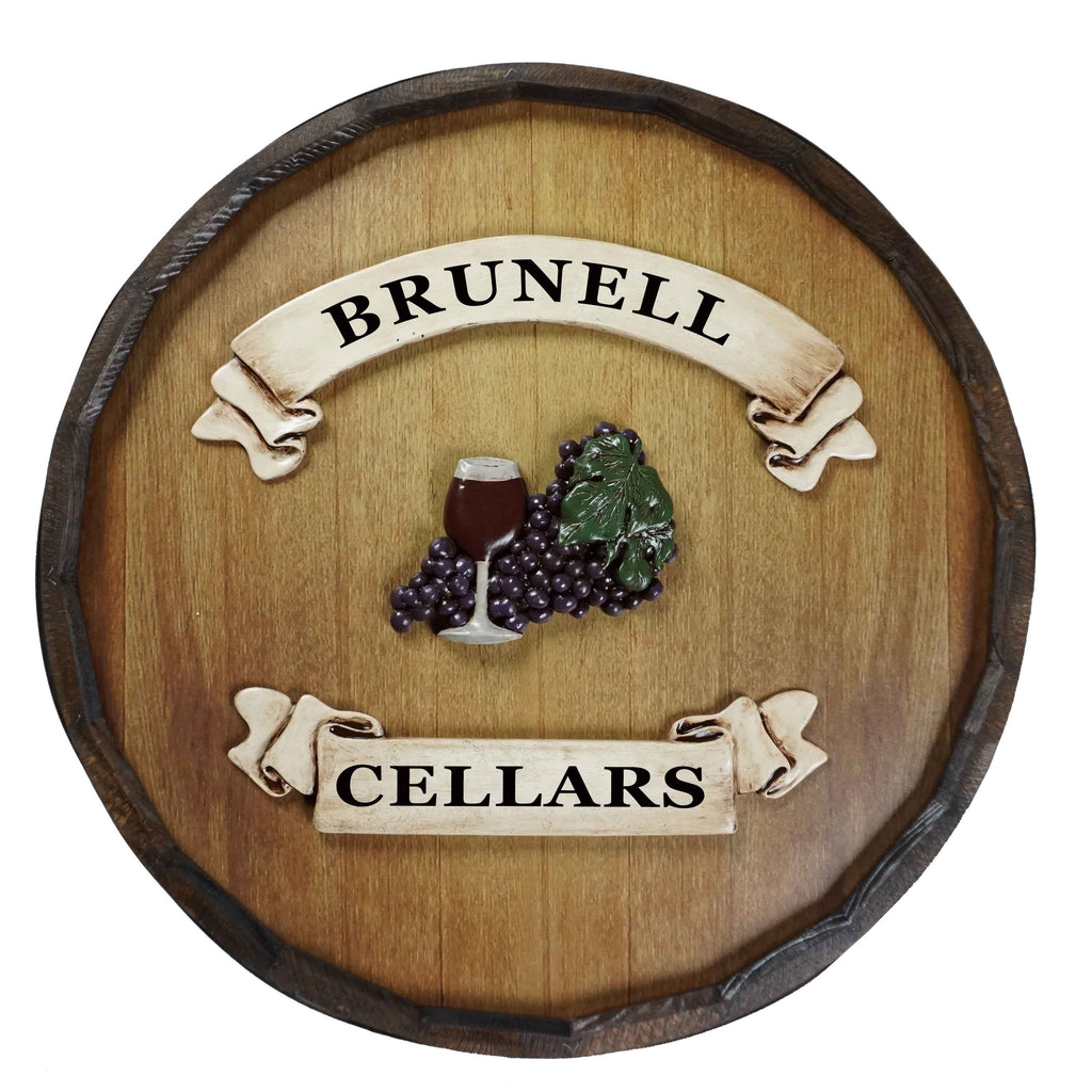 Personalized Wine Cellar Quarter Barrel Wood Sign