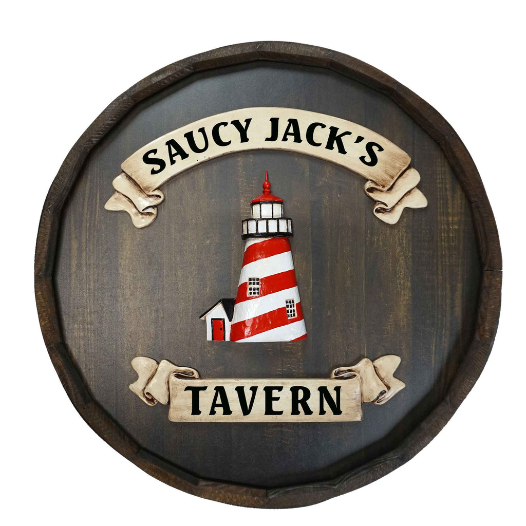 Personalized Lighthouse Quarter Barrel Wood Sign