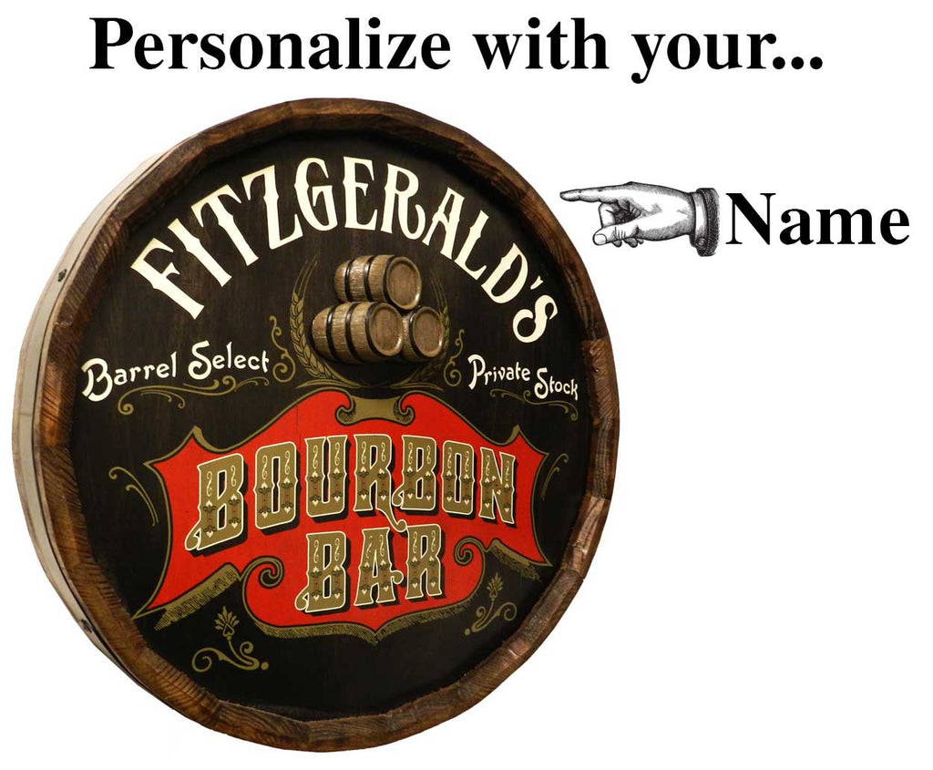 Bourbon Bar Personalized Quarter Barrel Sign - Rion Douglas Gifts - 3