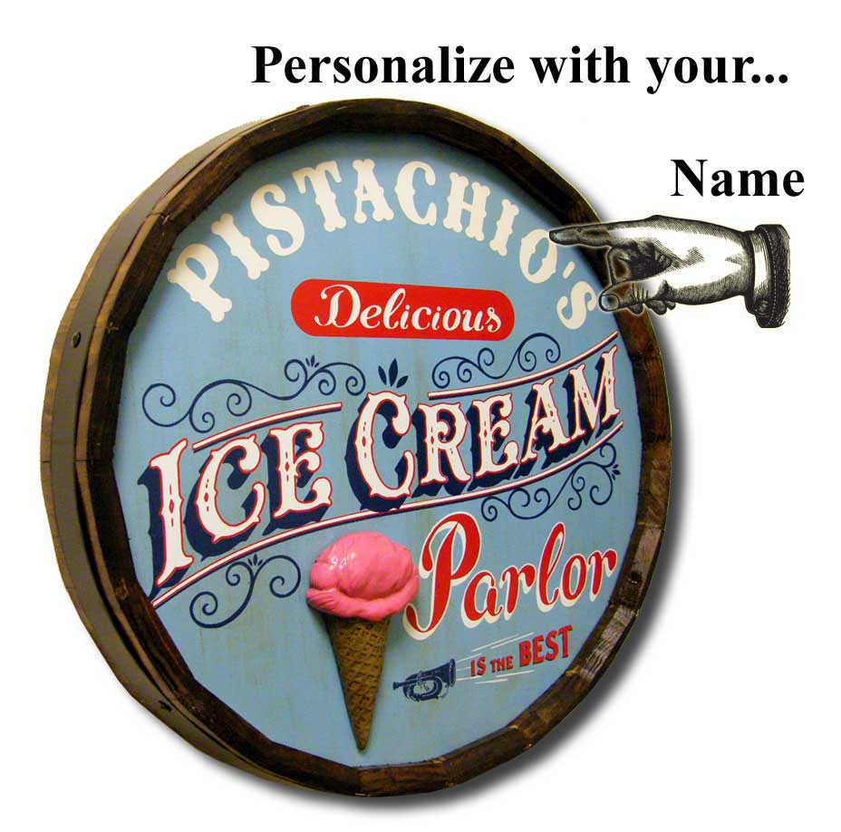 'Ice Cream Parlor' Personalized Quarter Barrel Sign - Rion Douglas Gifts - 3