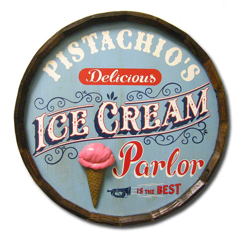 'Ice Cream Parlor' Personalized Quarter Barrel Sign - Rion Douglas Gifts - 1