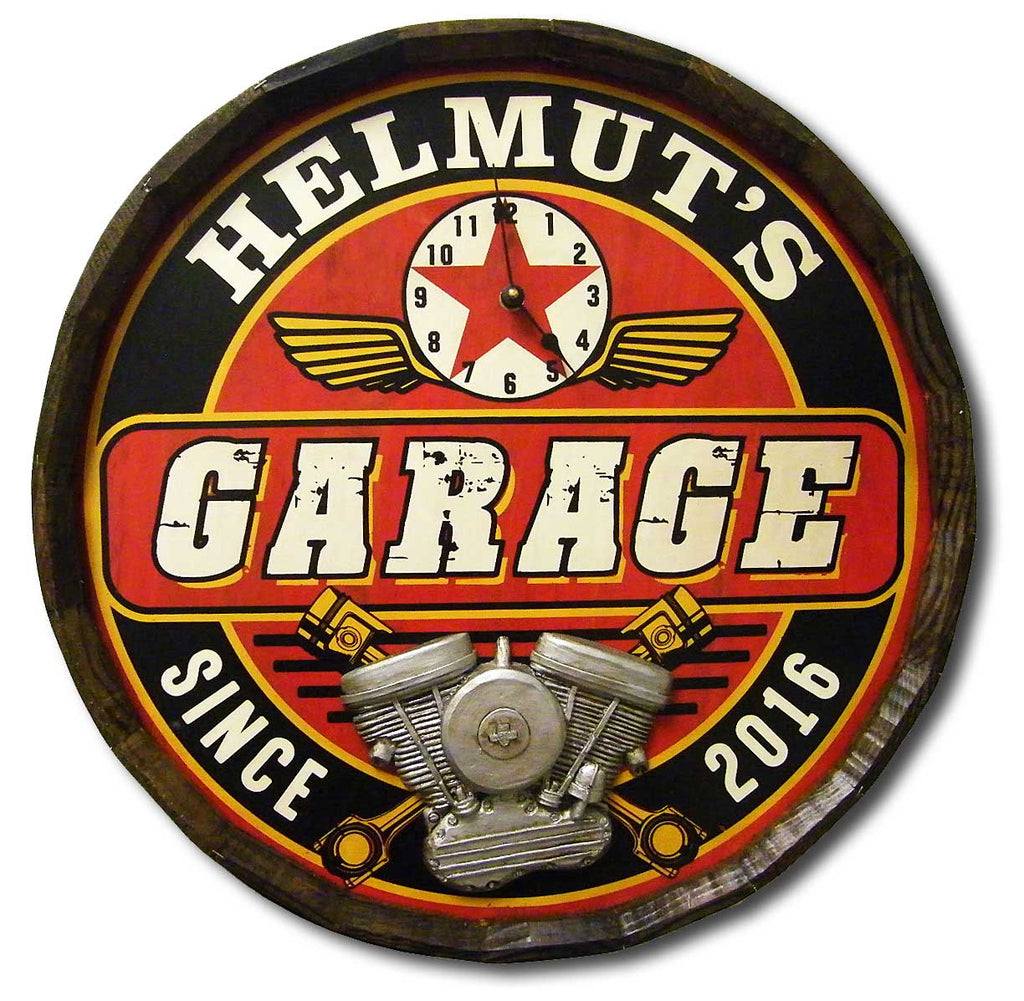 Garage - Personalized Quarter Barrel Sign and Clock - Rion Douglas Gifts - 1