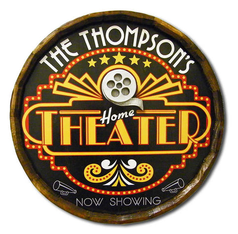 Home Theater - Personalized Quarter Barrel Sign - Rion Douglas Gifts - 1