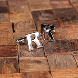 "Initials ""A-Z"" Personalized Polished Stainless Steel Men's Classic Cuff Link Cufflink with Wood Box - Rion Douglas Gifts - 20"