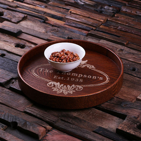Personalized Wood Serving Tray – Round - Rion Douglas Gifts - 1
