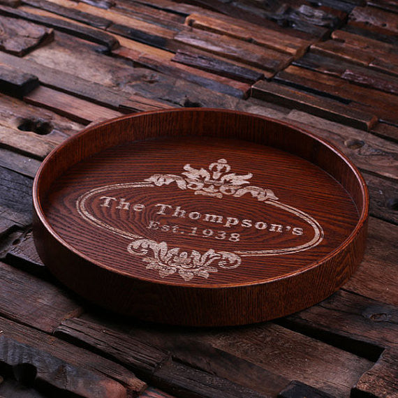 Personalized Wood Serving Tray – Round - Rion Douglas Gifts - 2