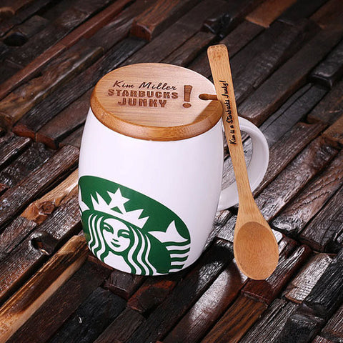 Personalized 16 oz. Ceramic Starbucks Mug w/Bamboo Lid & Spoon – White, Red & Black - Rion Douglas Gifts - 1