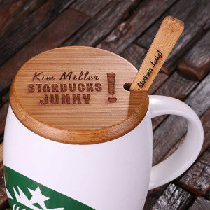 Personalized 16 oz. Ceramic Starbucks Mug w/Bamboo Lid & Spoon – White, Red & Black - Rion Douglas Gifts - 2