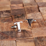 "Initials ""A-Z"" Personalized Polished Stainless Steel Men's Classic Cuff Link Cufflink with Wood Box - Rion Douglas Gifts - 22"